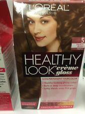 3 X L'Oreal Healthy Look Creme Gloss Hair Color Medium Brown/Truffle #5 NEW