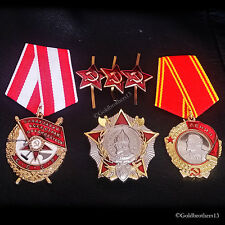 SET Order of Lenin , Order of the Red Banner , Nevsky & Red Stars badges Repro