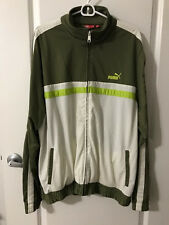 WORN PUMA Mens Vintage TRACK Jacket Size XL OLIVE MULTI COLOR