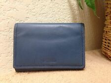 Fossil Vintage Blue Leather Organizer Wallet Clutch VGC