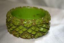 Green Bakelite Carved Bracelet
