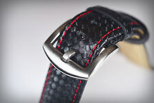 22mm Genuine Leather (Carbon Fibre Patterned) Black Strap with Red Stitching