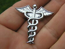 ~ DOCTOR or NURSE SMALL CAR BADGE Chrome Metal Emblem Medical Caduceus Logo
