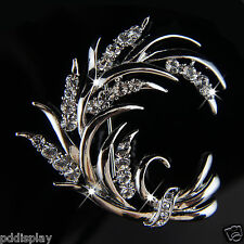 14k white Gold plated Swarovski elements leaf crystals brooch pin