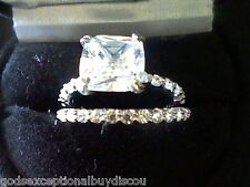 PRINCESS LCS DIAMOND WEDDING ENGAGEMENT 2 PC RING SET SZ 5 + GIFT