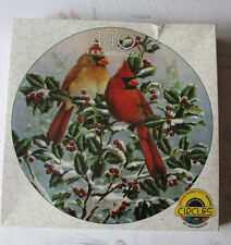 "Schmid ""Winter's Splendor"" Red Cardinal Holly Snow Circle Puzzle 440 - NEW"