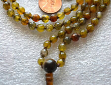 6 mm Energized Coffee Dragon Vein Agate Hand Knotted Om Mala Beads Necklace