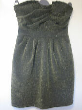 A WOMANS H&M GOLD AND BLACK FLECK COCKTAIL DRESS  SIZE  12      27 INCHES LONG
