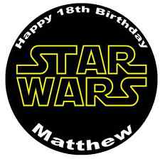 "Star Wars Logo Personalised Cake Topper 7.5"" Edible Wafer Paper"