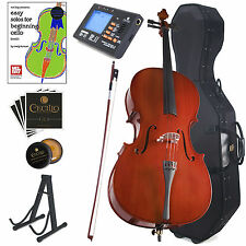 CECILIO SIZE 4/4 3/4 1/2 1/4 1/8 ACOUSTIC CELLO w/ HARD CASE, TUNER CCO-100+HC