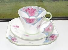 Shelley Art Deco China 12230 Pink & Blue Poppies Trio Cup Saucer Plate 1930s