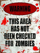 Warning not checked for Zombies, Funny Bedroom Door Area, Novelty Fridge Magnet