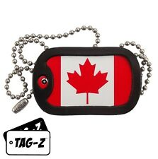 Military Dog Tag Necklace -  CANADIAN FLAG with a Dog Tag Silencer