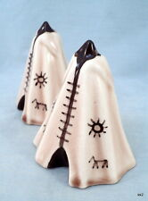 Vintage Pair Native American Indian Tipi Teepee Salt & Pepper Shakers - Estate