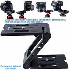New Metal Z-Folding Ball Head Quick Release Plate Camera Holder Flash Bracket