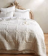 NWT Anthropologie KLOVERART Queen Coverlet Blanket Quilt Embroidered Blue Grey