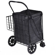 Folding Shopping Cart Jumbo Swivel Wheels Extra Basket Trolley Grocery Laun