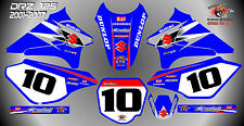 suzuki drz125 decals graphics laminated stickers motocross mx 125 BLUE 01-07