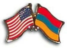 """USA - ARMENIA FRIENDSHIP CROSSED FLAGS LAPEL PIN - NEW - COUNTRY PIN 1.25"""""""