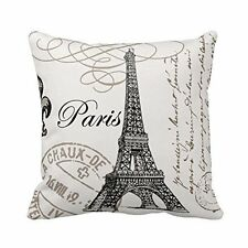 Top Rated Black White Eiffel Tower Paris Customs Stamp Throw Pillow Case / Cover