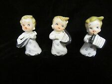 3 Vintage Christmas Ceramic Children Playing Musical Instruments Figurines - 3""