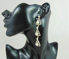 VERY LONG VINTAGE STYLE GOLD AND CLEAR BEAD IN TRIANGLE DROP STATEMENT EARRINGS