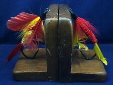 Vtg Fly Fishing Lures Bookends Wood Base MCM Vernon R. Smith Novelty Flies Maine