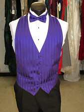 Mens Formal Vest Purple With Stripe Design Size OSFA Include Matching Bow Tie