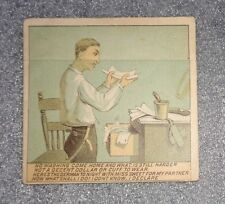 Victorian metamorphic trade card advertising waterproof cuffs and collars