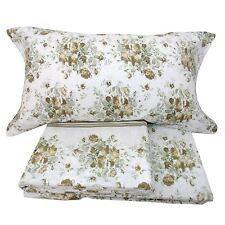 Completo lenzuola matrimoniale 2 piazze in flanella fiori roselline beige