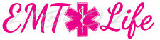 Script EMT Life with Star of Life Vinyl Decal Sticker for Vehicle Auto Car