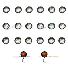 20X 12V Round  DC Side Marker 3/4 inch Amber Clearance LED Bullet Lamp Lights