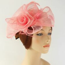 New Woman Church Derby Wedding Sinamay Pillbox Dress Hat SDL-009 Peach Pink