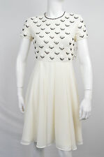 FCUK FRENCH CONNECTION NEW WT WOMENS IVORY WHITE SEQUINS SHIFT DRESS SIZE: 2