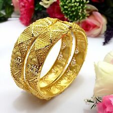 Indian Asian Size:2.10 Bridal Pakistani Jewellery 22ct Gold Plated Bangles