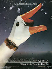 1986 Print Ad of Citizen Noblia Watch hand painted like a duck