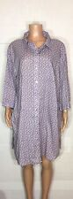 Ulla Popken Women's Plus Size 20/22 Purple Polka Dot Shirt Dress Long