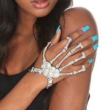 Silver Punk Gothic Talon Skeleton Skull Bone Hand Finger Ring Slave Bracelets