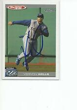 VERNON WELLS Autographed Signed 2004 Topps Total card Toronto Blue Jays COA