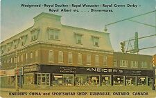 Canada postcard Dunnville Ontario Kneider's China & Sportswear Department Store