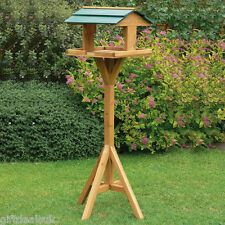 TRADITIONAL GARDEN WOODEN BIRD TABLE FEEDER FEEDING FREE STANDING BIRDS HOUSE