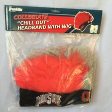 OHIO STATE BUCKEYES HEADBAND WITH CRAZY HAIR MOHAWK WIG HALLOWEEN TAILGATE