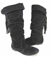 "STEVE MADDEN GIRL'S ""JSINDY"" SLOUCH BOOTS BLACK SUEDE BIG KID'S US SIZE 5 MEDIUM"