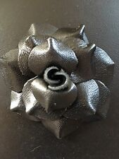 LOT OF 5 Soft Leather Rose Black Craft sew fabric flower bow Rose ribbon 2.5""