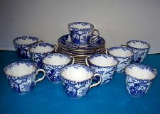 10 Sets Royal Crown Derby Blue & White Mikado Cups & Saucers Scalloped Gold Rim