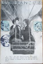 1905 French Fantasy Aviation Postcard: Couple in Hot Air Balloon - 4