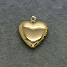 Heart Picture Locket - 24k Gold Plated Brass - Hinged Pendant Charm Jewelry
