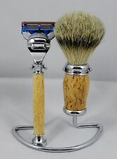3PC SHAVING SET Hand Turned from MASUR BIRCH w/ stand. A wonderful gift item #2