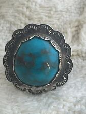 Vintage Sterling Silver Southwest Tribal Ring Turquoise Size 7 11.0g sign CLA