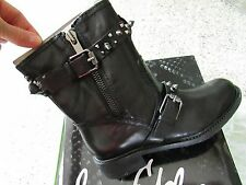 NEW SAM EDELMAN ADELE MOTO BLACK LEATHER BOOTIES BOOTS WOMENS 6 FREE SH